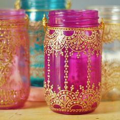 Dehna inspiriert Einmachglas Laterne heiße Rosa Glas von LITdecor