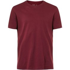 TOPMAN Burgundy Crew Neck T-Shirt (180 MXN) ❤ liked on Polyvore featuring men's fashion, men's clothing, men's shirts, men's t-shirts, men, tops, red, mens crew neck t shirts, mens slim fit t shirts and mens t shirts
