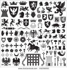Medieval Heraldry Symbols | Heraldic Symbols And Elements Stock Vector 64256950 : Shutterstock
