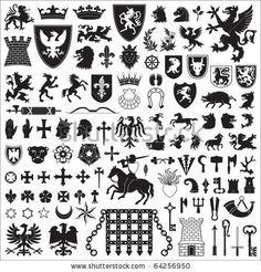 Medieval Heraldry Symbols | Heraldic Symbols And Elements Stock ...
