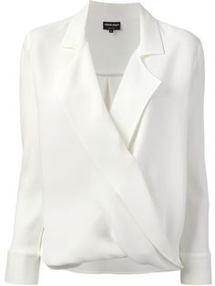 GIORGIO ARMANI wrap blouse and other apparel, accessories and trends. Browse and shop 21 related looks. Blouse Wrap, Wrap Shirt, Blouse Dress, Giorgio Armani, Blouse Styles, Blouse Designs, White Silk Blouse, White Shirts, Shirt Blouses