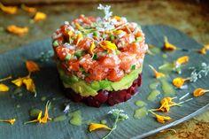 Salmon, Beet and Avocado Tartar with Lemon Vinaigrette | Heather Christo