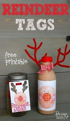 Reindeer printables make darling tags for reindeer milk or reindeer noses. Donut holes with one dipped in red (can't forget about Rudolph) make for a simple cute gift or sweet surprise for your kids. I love the idea of making reindeer pancakes and adding a cute bottle of reindeer milk for breakfast. Free printables at Design Dazzle #christmas #christmasprintables #ediblechristmascrafts