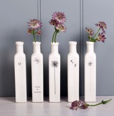 Boop Design - A set of tall thin bottle vases Available from http://www.boopdesign.com/store/c13/Tall_Thin_Bottle_Vases.html