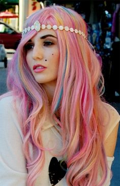 Sexy long layered pink, multi-colored hair