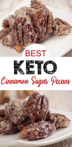 Low Carb Keto Cinnamon Sugar Coated Pecans Idea – Sugar Free – Quick & Easy Ketogenic Diet Recipe – Completely Keto Friendly - Keto Recipes and Ideas - Pecan Recipes Cinnamon Roasted Pecans, Cinnamon Sugar Pecans, Sugared Pecans, Keto Desserts, Keto Snacks, Holiday Desserts, Dessert Recipes, Quick Snacks, Carb Free Desserts