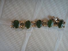 Vintage Jade and gold tone bracelet  classic design by maw0707, $67.00