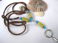 leather lanyards and badge holders | Leather lanyard, turquoise, serpentine, ID badge holder, keychain