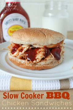 Slow Cooker BBQ Shredded Chicken Sandwiches (only 4 ingredients!) - Yummy Healthy Easy