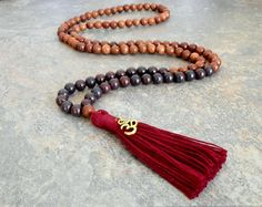 Cleansing Bloodstone - Rosewood Mala Necklace, Prayer beads, Yoga Necklace, Tassel Necklace