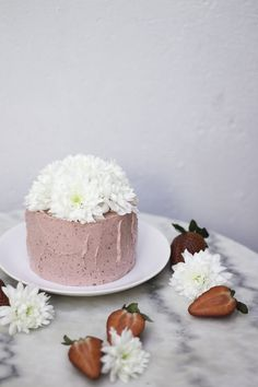 white chocolate cake with strawberry buttercream
