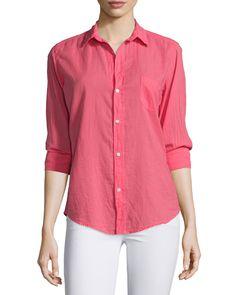 Barry Long-Sleeve Voile Shirt, Strawberry - Frank & Eileen
