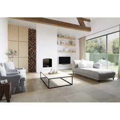Grey Floor Tiles, Grey Flooring, Fireplace Wall, Living Room With Fireplace, Grey Hallway, Living Room Flooring, Indore, Living Styles, Florida Home