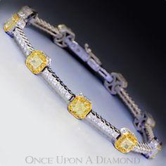 Gregg Ruth 4 75ctw Fancy Yellow and White Diamond Tennis Bracelet in 18K   eBay