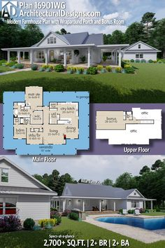 Architectural Designs Modern Farmhouse Plan 16901WG gives you 3 beds, 2 baths and over 2,700 sq. ft. of heated living space PLUS a bonus room and bath upstairs AND a detached 3-car garage. #16901WG #adhouseplans #architecturaldesigns #houseplan #architecture #newhome #newconstruction #newhouse #homedesign #dreamhome #dreamhouse #homeplan #architecture #architect #housegoals #Modernfarmhouse #Farmhousestyle #farmhouse