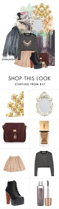 """""""Denim Jacket"""" by lady-wednesday ❤ liked on Polyvore featuring Seychelles, Marc B, Yves Saint Laurent, TIBI, Jeffrey Campbell, Jane Iredale, Jeanjacket and denimjackets"""