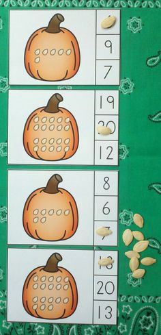 Engaging Fall Math Centers for Your Little Learners!  Use real pumpkin seeds to…