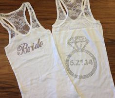 CUSTOM Rhinestone Bride Tank Top with Ring on Back  Wedding Date,Personalized Lace Tank Top,Rhinestone Bachelorette Party Tanks,Bride Gift by DeighanDesign on Etsy https://www.etsy.com/listing/184798814/custom-rhinestone-bride-tank-top-with