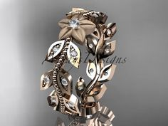 14kt rose gold diamond flower leaf and vine by anjaysdesigns