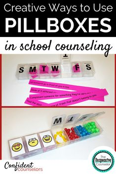 As school counselors we have to get creative with supplies. The Responsive counselor has 9 ideas for how to use pillboxes in school counseling. She uses them for secret motivators, helpful thoughts, and alternative behavior plans.