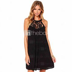 d4a98357ca Women's Lace Holiday Street chic A Line Dress - Solid Colored Black Halter  Neck Summer Black L XL XXL. SifonAlkalmi RuhákSexyCsipkeNyárStreet SikkRuha Fekete