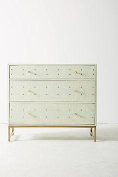 Circle Inlay Mint Gold Dots Dresser