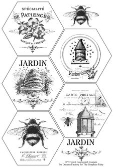 Learn how to make beautiful DIY French Honeycomb Coasters - cut, paint and faux distress them, decorate with decals and seal them. Printable Crafts, Printable Labels, Free Printables, Vintage Bee, Vintage Labels, Foto Transfer, Bee Cards, Patch Aplique, Graphics Fairy
