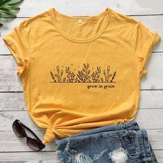 Grow In Grace T-shirt - yellow-black text / XL