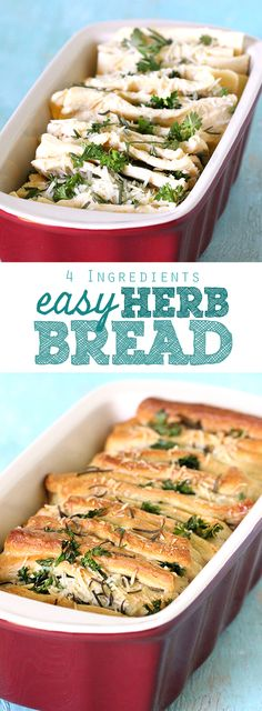 Easy Parmesan Herb Bread comes together with Only 4 Ingredients!