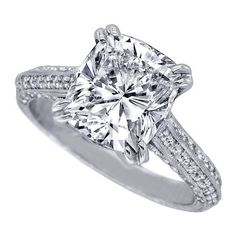 Vintage Style Cushion Diamond Cathedral Knife Edge Engagement Ring. - ES593