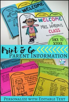 Simple Print, Snip and Go Parent Information Packet.  Great communication tool for Open House or Meet the Teacher Night.