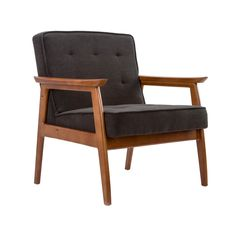 Mid-Century Walnut Lounge Chair in Charcoal | dotandbo.com