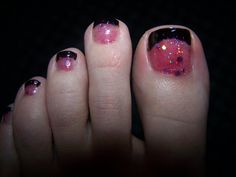 Toenail Designs for Pedicure | pink and black pedicure 1024x768 Cute Toenail Designs