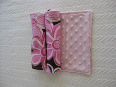 Two Flannel and Minky Burp Cloths, pink floral flannel and pink minky back $10.00