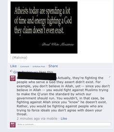 """Exactly right. Atheists aren't """"fighting against a god they don't think exists"""". Atheists are fighting against the believers of imaginary gods to prevent superstition from being forced onto them."""