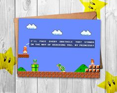 Anniversary Gamer Gift - Are you ready for the ultimate pixel fight? This is the perfect card for your nerdy special someone :) We make geeky cards focused around retro games with which we grew up and hope to excite as many people as possible with that!