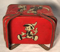 1930's lunch boxes | 1940 PINOCCHIO Luncbbox- Walt Disney Productions- RARE- Excellent ...