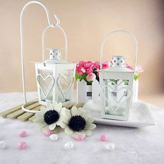 Heart Design Iron Candle Lantern (More Colors) - GBP £ 4.01
