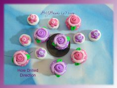 Rose Button Polymer Clay Scapbooking Charm Bead by rainbowdayhappy, $12.50