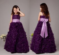 >> Click to Buy << Flattering Ball Gown Girl Pageant Dresses Bow and Sash Ruffle Tulle Dark Purple  Spaghetti Straps Ankle Length Princess Dress #Affiliate