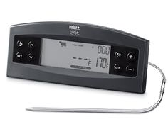 Meat Thermometer.  You can leave it in the meat while it cooks if slow cooking/smoking.