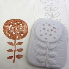 hand carved abstract flower stamp by robruhn on Etsy $15.00
