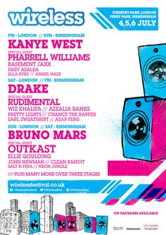 #WirelessFestival 2014 lineup revealed: #KanyeWest, #Drake, and #Outkast to headline