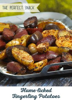 Meet your new favorite summer snack: Flame-licked Fingerling Potatoes. And don't forget the Spud Rub dip, made with onion powder, lemon pepper, smoked paprika and cumin. Grilling Recipes, Gourmet Recipes, Whole Food Recipes, Vegan Recipes, Cooking Recipes, Smoker Recipes, Appetizer Recipes, Salad Recipes, Appetizers