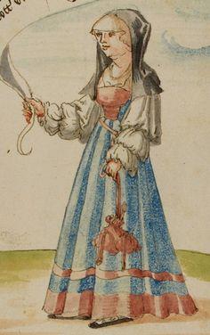 16th century (1530-1540) Switzerland?     Trogen, Kantonsbibliothek Appenzell Ausserrhoden  CM (Carl Meyer) Ms. 13: Memorial der Tugendt by Johann von Schwarzenberg fol. 82r - disorderly nun with a pouch/purse  http://www.e-codices.unifr.ch/en/list/one/cea/0013