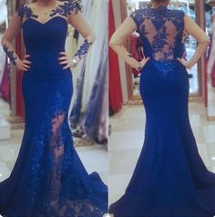Gorgeous Sheer Neckline Evening Dresses,Long Sleeves Evening Dresses,Sexy Mermaid Prom Dresses,With Lace Appliques Evening Dresses