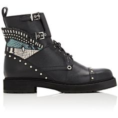 Fendi Women's Buggies-Eye Leather Combat Boots (€960) ❤ liked on Polyvore featuring shoes, boots, ankle booties, ankle boots, shoes - flats, dark grey, leather flats, low heel ankle boots, low heel booties and fringe booties