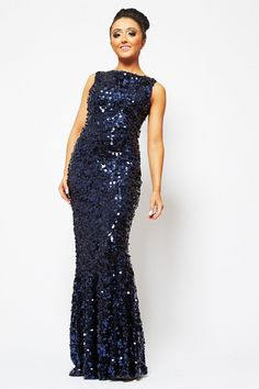 7c400df39bd630 Koo Ture Marilyn Navy Floor length large shiny sequin dress - DRESSES from Dollywood  Boutique UK