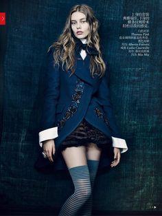 Ondria Hardin - editorials - haute couture and knee highs