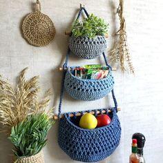 Fruit Storage, Storage Baskets, Kitchen Storage, Hanging Fruit Baskets, Baskets On Wall, Wall Basket, Hanging Baskets Kitchen, Wicker Baskets, Blue Wall Decor